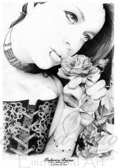 """""""Amore nell'aria"""" - Matita su carta A4 (22/06/2010)  In questo ritratto viene rappresentata una ragazza dal look alternativo apparentemente dal carattere """"duro"""" e sicuro di se, rappresentato dal piercing al labbro, corsetto in pizzo e collarino. Ma, attraverso il profumo della rosa e rivolgendo al cielo il suo sguardo sognante, abbatte il muro dell'apparenza lasciandoci intravedere quello che lei stessa è, una persona dall'animo dolce, romantico e sognatore."""
