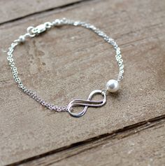 Infinity Bracelet, Birthstone Charm, Custom Birthstone Crystal, Sisters Bracelet, Friendship Bracelet, Pearl Bracelet, Sterling Silver