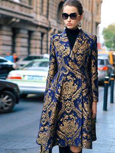 Multicolor V Neck Long Sleeve Jacquard Coat