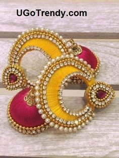Beautiful Silk thread double color chandbali earrings decorated with Rhinestones and golden beads. Yellow and Pink as in picture available ready to deliver. Want in different color or design or size? Contact us! We take custom orders ! Silk Thread Earrings Designs, Silk Thread Jhumkas, Silk Thread Bangles Design, Silk Thread Necklace, Silk Bangles, Beaded Necklace Patterns, Thread Bracelets, Thread Jewellery, Paper Jewelry