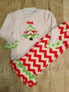 Monogrammed Girls Chevron Christmas Tree Pants Set by adstorey