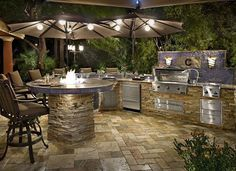 Cooking outdoors at Outdoor Kitchen brings a different sensation. We can use our patio / backyard space to build outdoor kitchen. Outdoor kitchen u. Outdoor Kitchen Grill, Modern Outdoor Kitchen, Outdoor Kitchen Countertops, Backyard Kitchen, Outdoor Cooking, Backyard Patio, Patio Bar, Tropical Backyard, Small Outdoor Kitchens