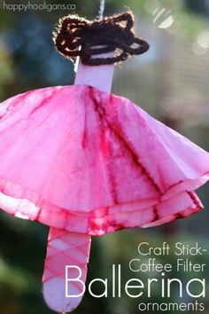 Adorable Ballerina Ornaments with Craft Sticks and Coffee Filters