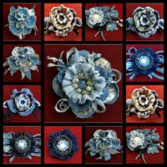 15 ideas for brooches from textiles. More ideas: http://wonderdump.com/15-ideas-for-brooches-from-textiles/