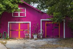 https://flic.kr/p/xG26G5   Bright Colors   Photo taken of a brightly colored shed at a business in Edmond, Oklahoma.