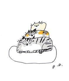 Items similar to Cat Stack- Cat Print- Cute Cat Art on Etsy