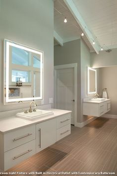 Bathroom Light Fixture With Electrical Outlet Attached Bathroom - Bathroom mirror with electrical outlet for bathroom decor ideas