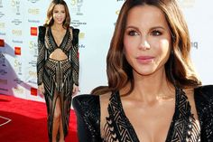 Kate Beckinsale flashes the flesh in sheer gown after spilling all on Pete Davidson - Irish Mirror Online Toned Stomach, Sheer Gown, Simple Makeup Looks, Black Platform Sandals, Poses For Pictures, Kate Beckinsale, In The Flesh, Hollywood Stars, Plunging Neckline