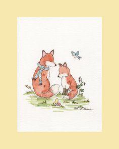 Fox Art Print- Woodland Nursery Art- Little Fox Friends- 5x7 Archival PRINT-  Children's Wall Art- Nursery Wall Decor. $9.00, via Etsy.