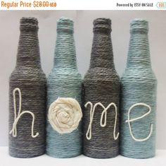 Sale 15% off Yarn Wrapped Twine Bottles Home Decor by OrangeCreek
