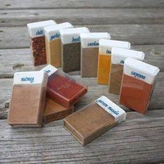 Organize in small spaces ... TicTac boxes for BBQ spices for camping.