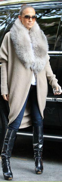 Jennifer Lopez OTK,Distressed Denim, Turtle Neck, FUR