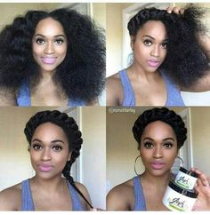 Hair goals Goddess braid with au'nsturale hair Natural Hair Braids, Natural Hair Care, Au Natural, Braided Hairstyles For Wedding, Easy Hairstyles, Wedding Updo, Protective Hairstyles, Braided Updo, Black Power