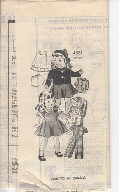 "Vintage Mail Order 40s Sewing Pattern  DOLL CLOTHES Jumper Housecoat Jacket Pajamas Slip Panties Hat  - Size 22"" (56cm) Doll - M O 4531 - S. $14.99, via Etsy."