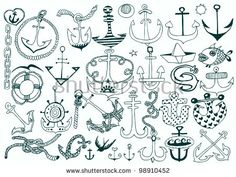 Set of Hand Drawn Anchors on White. Vector