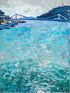 Duna, csillogás, Erzsébet híd  2015  -  olaj-vászon  80x60
