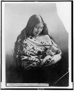 Native American woman holding baby, c1905.  Benjamin A. Gifford, The Dalles, Oregon.  Library of Congress Prints and Photographs Division.