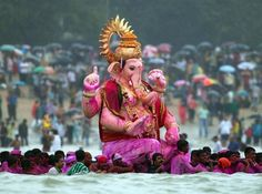 Ganesha festival..the Elephant  God being submerged..