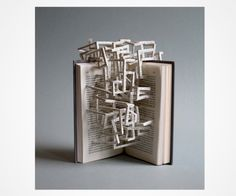 Stephen Doyle makes art from books. This series is from  the blog Mohawk Felt & Wire, Title: Language casts a shadow in Stephen Doyle's paper sculptures April 9th, 2010 .. the link does not link directly to the article.. search by date