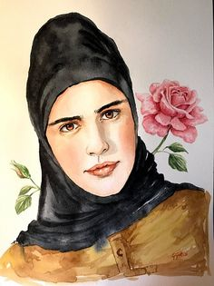 Damask rose, Syrian girl, watercolor portrait by Giulia Gatti Watercolor Portraits, Watercolor Paintings, Damask Rose, Gray Eyes, Red Earrings, Watercolor And Ink, Watercolors, Gallery, Drawings