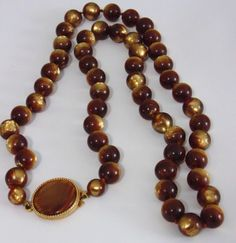 Single Strand Velvety Brown Beaded Lucite Vintage Necklace