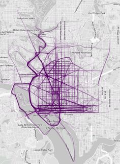 Mapping Where People Run  Inspired by a 2011 project that mapped popular running routes in a few European cities, Nathan Yau at FlowingData has done the same for 22 major cities, including 18 in the U.S.