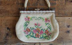 vintage 50s 60s beaded purse - formal handbag - lucite - white - floral motif - 1950s 1960s purse