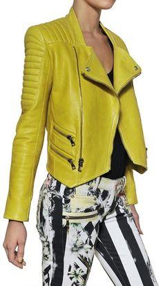 a084eda1 Balmain Love. Nappa Leather Biker Jacket - Lyst Yellow Leather, Women Wear,  Leather