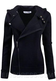 Cool Solid Color Wide Lapel Zip-Front Jackets Jackets