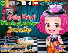 Trendy collection of outfits and accessories to give Baby Hazel a fab photographer makeover www.topbabygames.com/baby-hazel-photographer-dressup.html