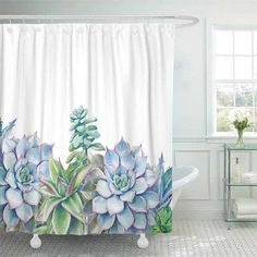 How to Refresh the Look of Your Bathroom (on a Budget) with a Succulents Shower Curtain, Plants, Matching Towels and a Bathmat... Cactus Shower Curtain, Watercolor Shower Curtain, Colorful Shower Curtain, Green Shower Curtains, Flower Curtain, Shower Curtain Sets, Watercolor Succulents, Flower Watercolor, Modern Bathroom Decor