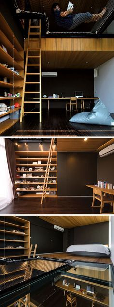 14 Inspirational Bedroom Ideas For Teenagers // This large bedroom has it all - a space just for sleeping, a desk area for studying, and a suspended netted area perfect for reading in.