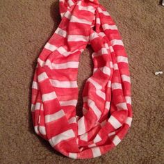 Pink and white stripe infinity scarf EXCELLENT CONDITION, worn a few times! Accessories Scarves & Wraps