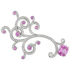 """CARTIER Pink Sapphire Diamond """"Saison"""" Brooch"""