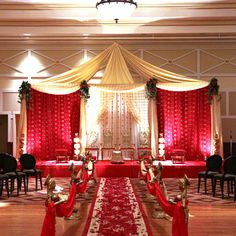 indian wedding Mandap red and cream, fabric mandap  #indianwedding, #shaadibazaar