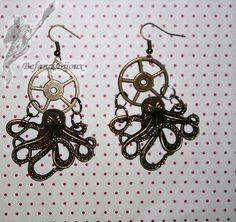 Paire de boucles d'oreilles steampunk avec pieuvre. Steampunk, Creations, Drop Earrings, Jewelry, Octopus, Art Crafts, Ears, Boucle D'oreille, Jewerly