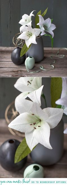 Create Pretty White Crepe Paper Lilies with our Simple DIY Tutorial - Lia Griffith - www.liagriffith.com #crepepaper #crepepaperflowers #crepepaperrevival #paper #paperart #paperflower #paperflowers #diyidea #diyideas #madewithlia