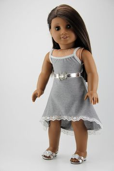 """American Girl doll clothes - High low strappy dress with belt (fits 18"""" doll) (421sil)"""