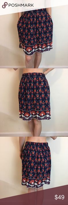 Maeve Printed Beaded Embellished Skirt Maeve by Anthro printed skirt with white Beaded Detail along the trim. Lined and has an elastic waistband! Size small Anthropologie Skirts