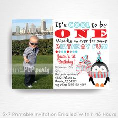 Penguin Birthday Party Printable Invitation - YOU Print