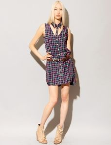 Grid cutout shirt dress