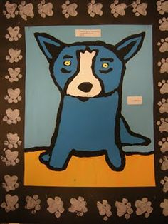 Blue dog love the paw prints! Doing this with the option to draw/paint Laurel Burch style cats.
