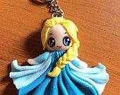 Porte-clé accessoire sac figurine Elsa Frozen fimo