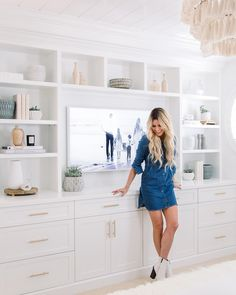 You guys I'm so excited to take over the channel's Stories today and share my recent master bedroom makeover! Built In Shelves Living Room, Living Room Tv Cabinet, Bedroom Built Ins, Ikea Living Room, Tv In Bedroom, Master Bedroom Makeover, Living Rooms, Bedroom Wall Units, Built In Cabinets