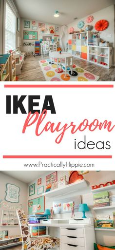 Bright and colorful kids' spaces add fun to home decor! See the budget-friendly IKEA playroom pieces for home decor inspiration.