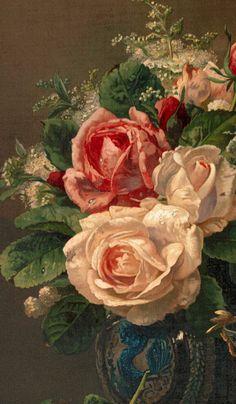 "inividia: ""Still Life with Roses, Jean-Baptiste Robie (Belgian , 1821-1910) """