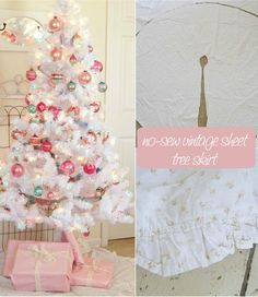 Love THIS! How to make a no-sew tree skirt from a vintage sheet.
