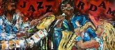 """Jazz Rotterdam"" Acrylic painting 80 x 180  For Sale"
