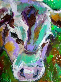 Original Abstract Painting Acrylic Cow 11x13 by BellaCosaArt,