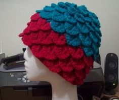 Crochet Crocodile Stitch Adult Hat @Anna Sherwood